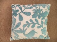 Duck egg blue bedroom set comprising lined curtains, 100% wool rug, 3 cushions & throw.