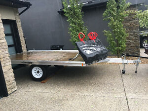 14ft Aluminum Trailer with drive on ramps