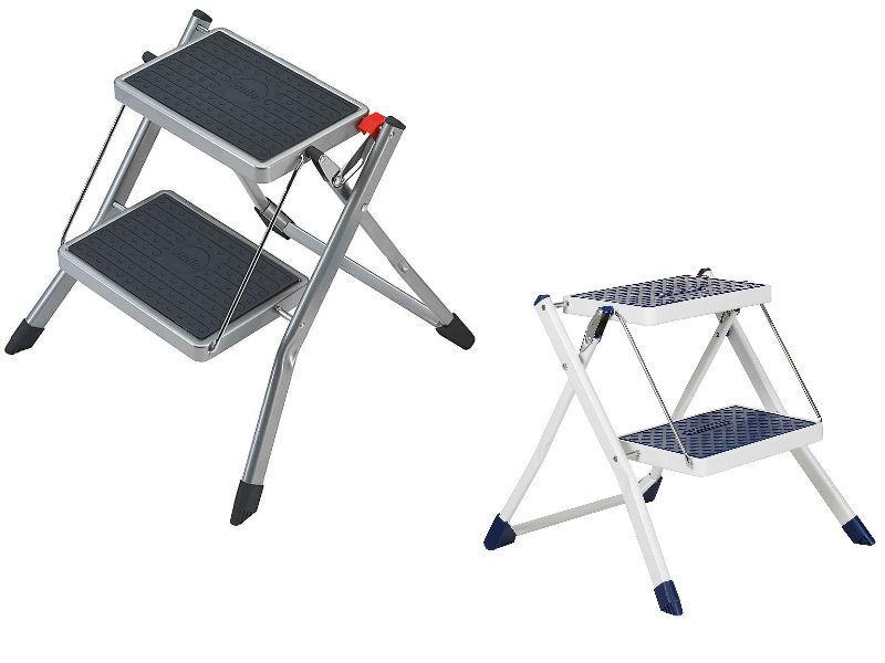 Hailo Mini 2 Kitchen Folding Step Ladder and Stool in White