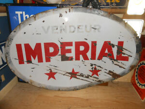 PANCARTE HUILE IMPERIAL OIL PORCELAIN SIGN