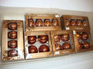 Assorted copper coloured Christmas tree decorations