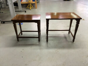 ART SHOPPE burled walnut end tables