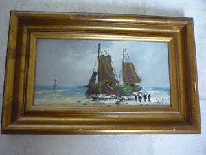SMALL SIGNED ORIGINAL BOAT PAINTING ON WOOD PANEL $25