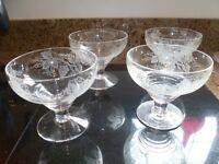 4 matching vintage glass dessert bowls