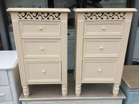 Shabby Chic Ornate Bedside Tables - Cream