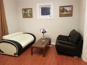 leather sofa chair and love chair and coffee table