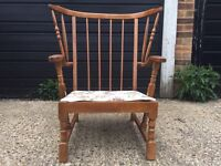 Vintage stick back Ercol chair complete with cushion