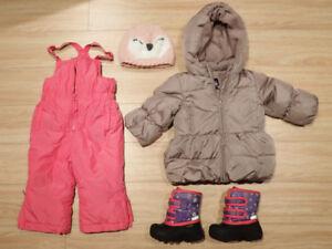 Toddler Girl Winter Gear Set (Snow pants, jacket, boots, 12-18 m