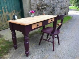 Beautiful victorian Pine Desk and Chair