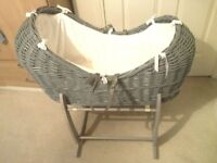 Clair de lune grey pod Moses basket with grey stand.