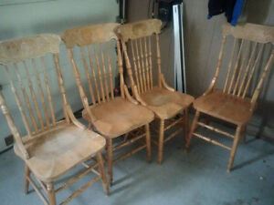 Vintage style solid maple chairs - 4 reproduction pressback Cambridge Kitchener Area image 1