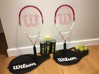 Tennis racquets + balls