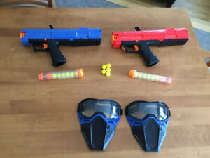 Nerf rival + balles + chargeurs + masques