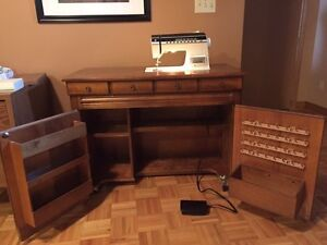 Antique and Functional Sewing Machine Cabinet