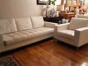 Genuine leather  sofa and chair obo