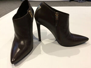 Marciano ankle boots - dark brown leather and gold accent