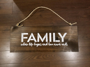 Wood Sign  Family  where life begins and love never ends