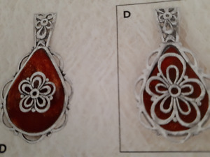 Silpada Double Sided Pendant in SS & Coral