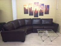 Comfy Cosy Brown Leather Corner Sofa