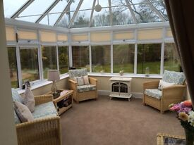 Conservatory Furniture Desser Dijon Suite with Emily Fabric - 2 seater sofa & 2 armchairs & 2 tables