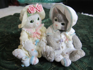 """""""YOU MAKE LIFE COLORFUL"""" CALICO KITTENS FIGURINE BY ENESCO CORP."""