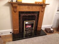 Fireplace solid wood fire place tiled hearth and inset