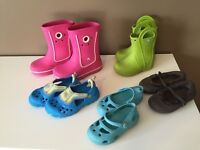 Girls' Crocs and flip flops (~ 3T to 4T)