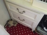 Two drawer small chest of drawers shabby chic