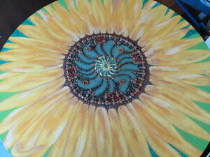 Dinning table I artistically painted/ mix media of sunflower
