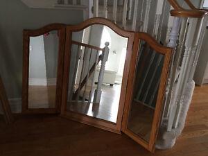 Solid Oak 3 piece mirror for dresser