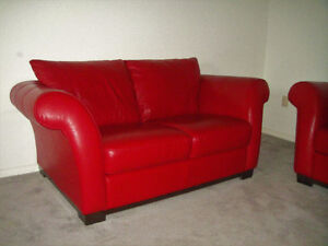 9/10 NEW ALL LEATHER COUCH AND LOVSEAT, CAN DELIVER