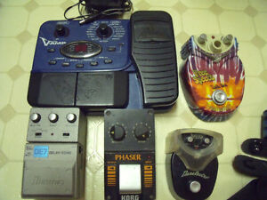 guitar cables, Harmonica Holder, foot pedals and accessories