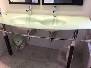 "Funky Glass Top Vanity 63"" Double Sink"
