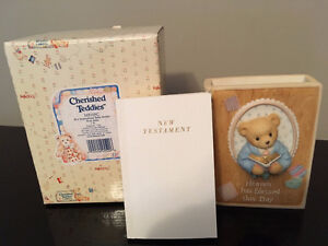 """Cherished Teddies""- Boy Inspirational Bible Holder with Bible"