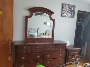 dresser with mirror & night table