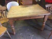 Rustic pine table and chairs 4ft x 3ft