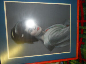 Japanese Geisha by M Hall Original $200. Not a print. Prince George British Columbia image 3
