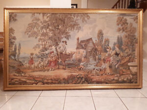 Vintage Italian Needlepoint Tapestry - Gold Wood Frame