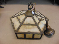 6 Sided Slag Glass Hanging Lamp