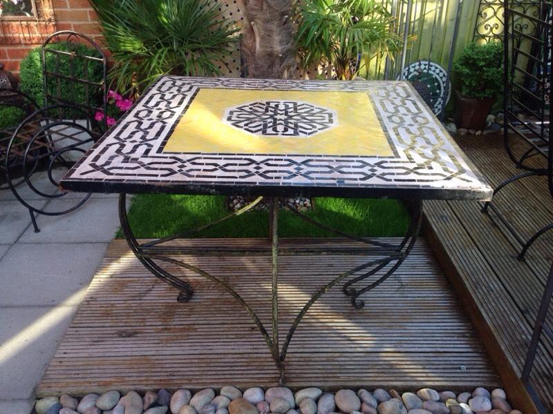 moroccan garden furniture. Vintage Moroccan Mosaic Garden Table Furniture P