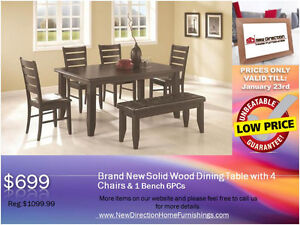 ◆Brand New 6PCS Solid Wood Dining Set 4 Chairs & 1Bench@NEWD