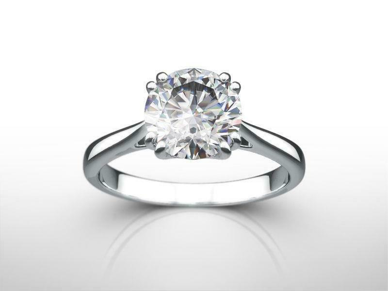 Solitaire 8 Prong Set Wedding 1.5 Carats 14 Kt White Gold Diamond Ring Round