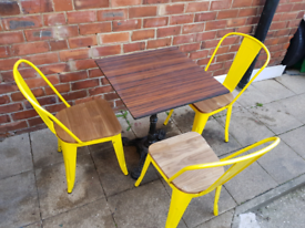 Commercial restaurant garden table and chairs
