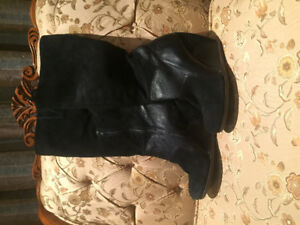 Suede black high wedge boots-size 7