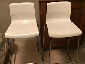 White IKEA bar stools