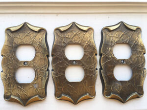 3 Vintage double outlet covers for sale. Pick Up Only.