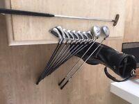 Full set of golf clubs. Mitsushiba Graphite irons, Mizuno driver, 3 wood, putter & bag. Lovely set