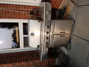STAINLESS STEEL BBQ GRILL with 4 BURNERS and PROPANE TANK