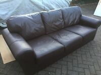 Brown leather ikea 3 seater comfy sofa