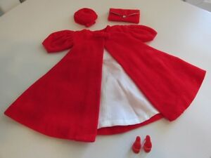 "Vintage Barbie Doll ""Red Flare"" Velvet Coat & Accessories"